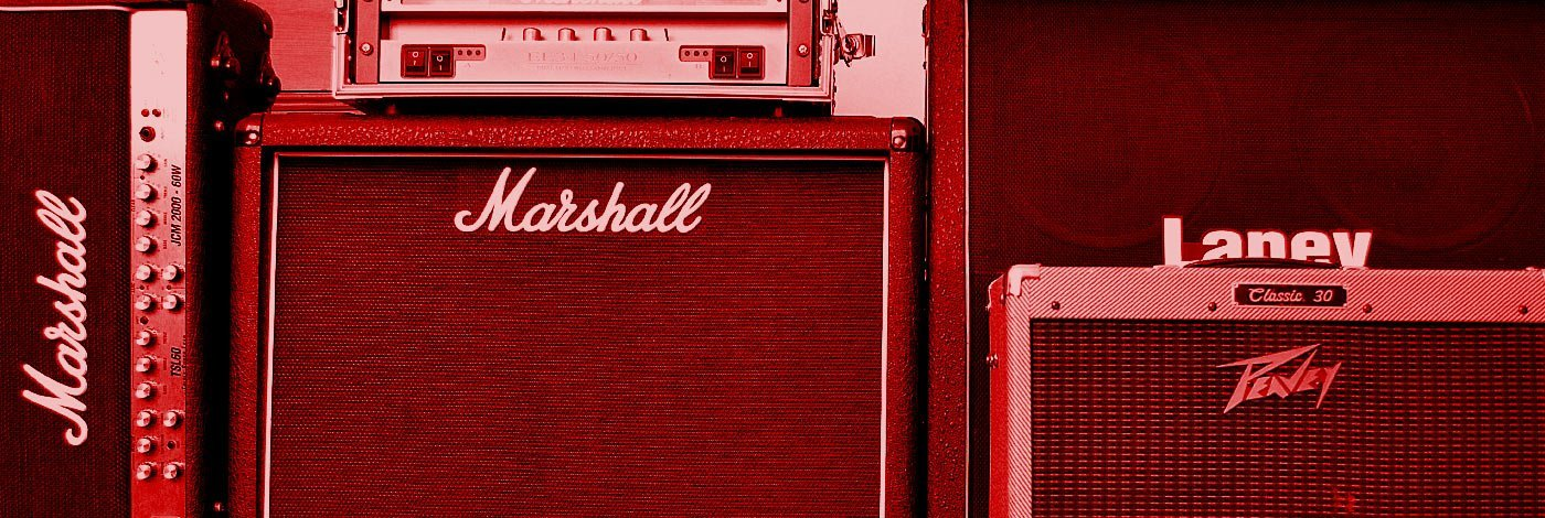 Stacked Marshall, Laney and Peavey Guitar Amps in Sonic Crew's Studio in Putney